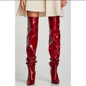 Zara Red Patent Leather Thigh High Boots Sz 8